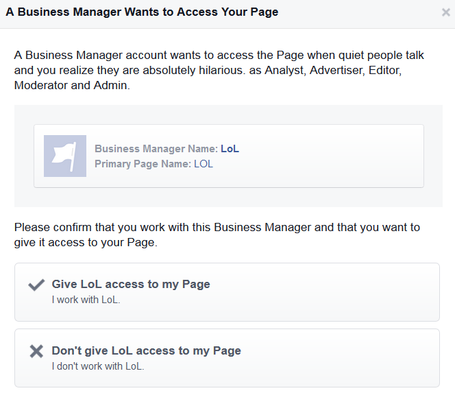A Business Manager Wants to Access Your Page