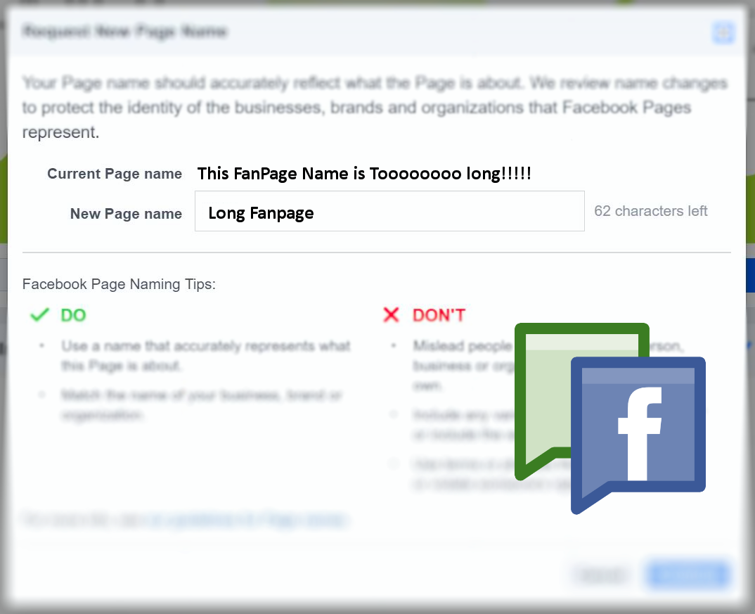 How to change my name appears on facebook account into a page